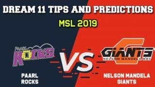 Dream11 Team Paarl Rocks vs Nelson Mandela Giants, PR vs NMG Match 28