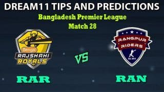 RAR vs RAN Dream11 Team Prediction Bangladesh Premier League 2019-20: Captain And Vice-Captain, Fantasy Cricket Tips Rajshahi Royals vs Rangpur Rangers Match 28 at Shere Bangla National Stadium, Dhaka 6:00 PM IST
