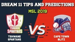 TST vs CTB Dream11 Tshwane Spartans vs Cape Town Blitz, Match 29, Mzansi Premier League, MSL 2019 – Cricket Prediction Tips For Today's Match TST vs CTB at SuperSport Park in Centurion December 8