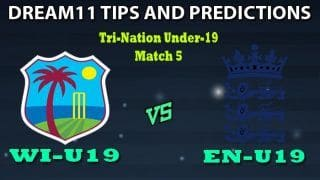 West Indies U19 vs England Under19 Dream11 Team Prediction Tri-Nation Under-19: Captain And Vice-Captain, Fantasy Cricket Tips WI-U19 vs EN-U19 5th Youth ODI at Sir Vivian Richards Stadium, North Sound, Antigua 6:30 PM IST