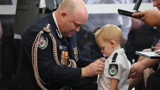 Heartbreaking! Toddler Receives Medal For His Firefighter Dad Who Died Battling Australian Bushfires