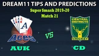 AUK vs CD Dream11 Team Prediction Men's Super Smash 2019-20: Captain And Vice-Captain, Fantasy Cricket Tips Auckland vs Central Districts Match 21 at Eden Park Outer Oval, Auckland 8:40 AM IST
