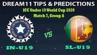 IN-U19 VS SL-U19 Dream11 Team Prediction Under 19 World Cup 2020