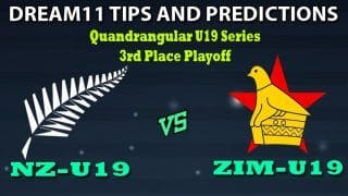 NZ-U19 vs ZIM-U19 Dream11 Team Prediction Quadrangular U19 Series 2020: Captain And Vice-Captain, Fantasy Cricket Tips New Zealand Under 19 vs Zimbabwe Under 19 3rd Place Playoff at Chatsworth Stadium, Durban 1:00 PM IST