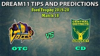 OTG vs CD Dream11 Team Prediction Ford Trophy 2019-20: Captain And Vice-Captain, Fantasy Cricket Tips Otago Volts vs Central Districts Match 18 at University Oval, Dunedin 3:30 AM IST