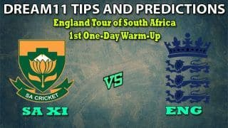 SA XI vs ENG Dream11 Team Prediction England tour of South Africa 2019-2020: Captain And Vice-Captain, Fantasy Cricket Tips South Africa Invitation XI vs England 1st Warm-up One-day at Boland Park, Paarl 1:30 PM IST