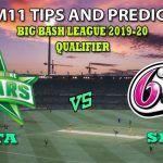 STA vs SIX Dream11 Team Prediction Big Bash League 2019-2020: Captain And Vice-Captain, Fantasy Cricket Tips Melbourne Stars vs Sydney Sixers Qualifier at Melbourne Cricket Ground, Melbourne 1:45 PM IST