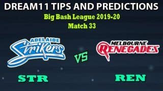 STR vs REN Dream11 Team Prediction Bangladesh Premier League 2019-20: Captain And Vice-Captain, Fantasy Cricket Tips Adelaide Strikers vs Melbourne Renegades Match 33 at Adelaide Oval, Adelaide 10:10 AM IST