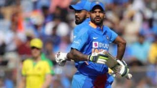 India vs australia shikhar dhawan hits half century despite australia restrict india 255 10 in 1st odi 3909409