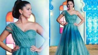 Bollywood Hottie Sunny Leone Will Take Your Breath Away in Stunning Blue Gown And Shimmery Makeup