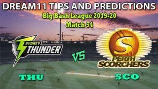 THU vs SCO Dream11 Team Prediction Big Bash League 2019-20: Captain And Vice-Captain, Fantasy Cricket Tips Sydney Thunder vs Perth Scorchers Match 54 at Sydney Showground Stadium, Sydney 9:15 AM IST