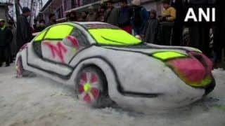 Youth Builds 'Car' Out of Snow in Kashmir, Artistic Abilities Impress Netizens