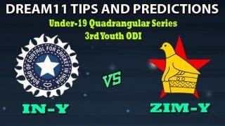 IN-Y vs ZIM-Y Dream11 Team Prediction Quadrangular U19 Series 2020: Captain And Vice-Captain, Fantasy Cricket Tips India Under 19 vs Zimbabwe Under 19 3rd Youth ODI at Kingsmead, Durban 1:30 PM IST