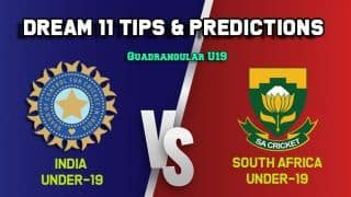 Dream11 Team Prediction India Under-19 vs South Africa Under-19: Captain And Vice Captain For Today Quadrangular U19 Series Final IN-U19 vs SA U-19 at Kingsmead in Durban 1:00 PM IST January 9