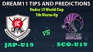 JPN-U19 vs SCO-U19 Dream11 Team Prediction Under 19 World Cup 2020: Captain And Vice-Captain, Fantasy Cricket Tips Japan U19 vs Scotland U19 7th Warm-up Match at Rice Field, St. John's College, Johannesburg 1:30 PM IST