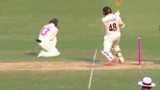 Aus vs nz mathew wade evade scary ball to the head at silly point 3898661