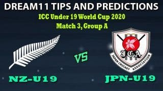 NZ-U19 vs JPN-U19 Dream11 Team Prediction Under 19 World Cup 2020: Captain And Vice-Captain, Fantasy Cricket Tips New Zealand U19 vs Japan U19 Match 3, Group A at North-West University No1 Ground, Potchefstroom 1:30 PM IST