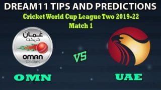 OMN vs UAE Dream11 Team Prediction ICC Cricket World Cup League Two 2019-2022: Captain And Vice-Captain, Fantasy Cricket Tips Oman vs United Arab Emirates Match 1 at Al Amerat Cricket Ground Oman Cricket (Ministry Turf 1), Al Amarat, Oman 11:30 AM IST