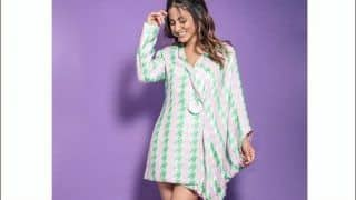 Hina Khan's Thigh-High Kaftan Dress Grabs Eyeballs, Sets Fans Hearts Aflutter With Sultry Poses