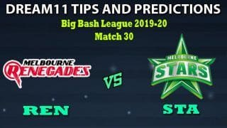 REN vs STA Dream11 Team Prediction Big Bash League 2019-20: Captain And Vice-Captain, Fantasy Cricket Tips Melbourne Renegades vs Melbourne Stars Match 30 at Shere Docklands Stadium, Melbourne 1:40 PM IST