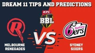 Dream11 Team Prediction Melbourne Renegades vs Sydney Sixers: Captain And Vice Captain For Today BIG BASH LEAGUE BBL 2019-20 Match 20 REN vs SIX at Docklands Stadium in Melbourne 1:40 pm IST January 2