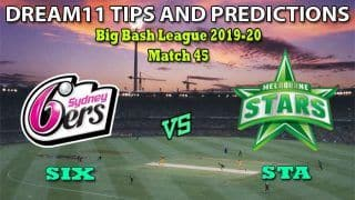 SIX vs STA Dream11 Team Prediction Big Bash League 2019-20