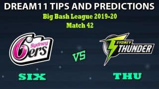 SIX VS THU Dream11 Team Prediction Big Bash League 2019-20