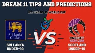 Dream11 Team Prediction Sri Lanka Under-19 vs Scotland Under-19: Captain And Vice Captain For Today ICC Under-19 Cricket World Cup 2020 Plate Semi-Final 1 SL-U19 vs SCO-U19 at North-West University No1 Ground in Potchefstroom 1:30 PM IST January 30