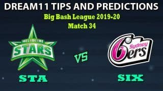 STA vs SIX Dream11 Team Prediction Big Bash League 2019-20: Captain And Vice-Captain, Fantasy Cricket Tips Melbourne Stars vs Sydney Sixers Match 34 at Melbourne Cricket Ground, Melbourne 1:40 PM IST