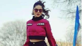 Sunny Leone Raises Temperature in Dubai, Wears Hot Maroon Turtle Neck Crop Top With Flared Sleeves