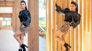 Naagin Fame Adaa Khan Sets Fan's Hearts in Frenzy in Dramatic Black Top And Leopard Print Skirt