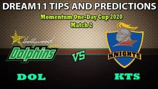 DOL vs KTS Dream11 Team Prediction Momentum One-Day Cup 2020: Captain And Vice-Captain, Fantasy Cricket Tips Dolphins vs Knights Match 2 at Kingsmead, Durban 1:30 PM IST