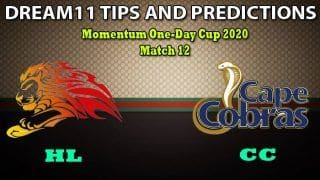 HL vs CC Dream11 Team Prediction, Momentum One-Day Cup 2020, Match 12: Captain And Vice-Captain, Fantasy Cricket Tips Lions vs Cape Cobras at Senwes Park, Potchefstroom 1:30 PM IST