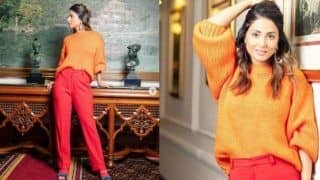 Hacked Promotions: Hina Khan Enjoys Delhi Winters in Orange Sweater And Red Pants