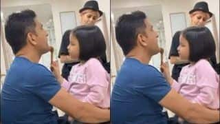 Ziva Turns Make-up Artist For MS Dhoni, Video Goes Viral | WATCH