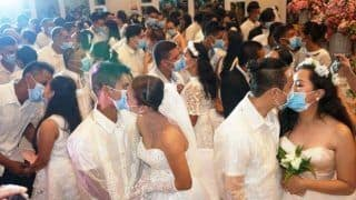Philippine Couples Kiss Each Other Wearing Surgical Masks At Mass Wedding Amid Coronavirus
