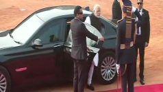 US President, PM Modi Reach Rashtrapati Bhavan, Ceremonial Reception Underway | LIVE Updates