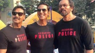 Before Sooryavanshi! Ajay Devgn And Akshay Kumar Pose With Rohit Shetty Wearing Quirky T-Shirts at Police Event