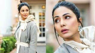 Hina Khan Rocks The Chic Look in Dramatic Grey Suit as She Steps Out For Hacked Promotions