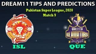 ISL vs QUE Dream11 Team Prediction, Pakistan Super League 2020, Match 9: Captain And Vice-Captain, Fantasy Cricket Tips Islamabad United vs Quetta Gladiators at Rawalpindi Cricket Stadium, Rawalpindi 7:30 PM IST