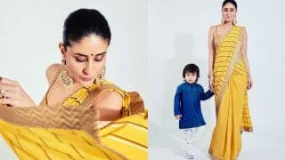 Kareena Kapoor Khan Looks Vivacious in Yellow Saree With Taimur by Her Side at Armaan Jain's Wedding