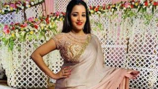 Bhojpuri Actor Monalisa'Rose Champagne Coloured Saree is The Hottest Wedding Guest Outfit Ever