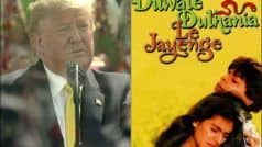 US President Donald Trump Praises Bollywood, Refers to DDLJ During Speech at Motera Stadium