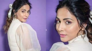 Hina Khan Amps Her Hot Look in White Dramatic Top And Shimmery Blue Skirt, Looks Ravishing