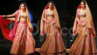Sara Ali Khan Turns Bride For Designer Duo Abu Jani-Sandeep Khosla, Looks Stunning in Her Pink-Red Lehenga
