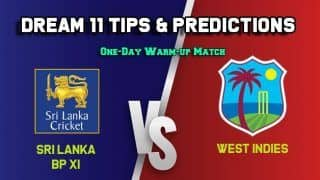 Dream11 Team SLBP-XI vs WI, One-Day Warm-up Match