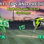 STA vs THU Dream11 Team Prediction Big Bash League 2019-2020: Captain And Vice-Captain, Fantasy Cricket Tips Melbourne Stars vs Sydney Thunder Challenger at Melbourne Cricket Ground, Melbourne 2:10 PM IST