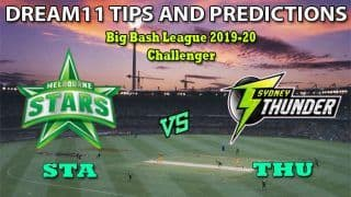 STA vs THU Dream11 Team Prediction Big Bash League 2019-2020: Captain And Vice-Captain, Fantasy Cricket Tips Melbourne Stars vs Sydney Thunder Challenger at Melbourne Cricket Ground, Melbourne 2:10 PM IST