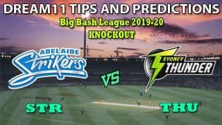 STR VS THU Dream11 Team Prediction Big Bash League 2019-2020: Captain And Vice-Captain, Fantasy Cricket Tips Adelaide Strikers vs Sydney Thunder Knockout at Adelaide Oval, Adelaide 2:10 PM IST