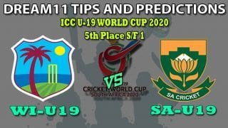 WI-U19 VS SA-U19 Dream11 Team Prediction ICC Under19 World Cup 2020: Captain And Vice-Captain, Fantasy Cricket Tips West Indies U19 vs South Africa U19 5th Place Semi-final 1 at Senwes Park, Potchefstroom 1:30 PM IST
